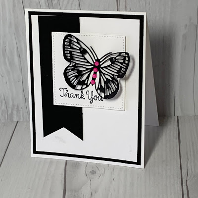 Thanks-You card using Brilliant Wings butterfly die from the Stampin' Up! Butterfly Brilliance Bundle