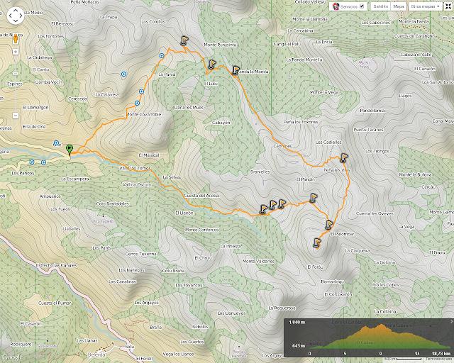 Ruta al Campigüeños y Carasca: Mapa de la ruta