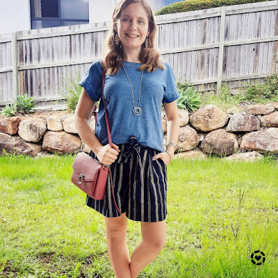 awayfromtheblue Instagram monochrome tee and navy striped culotte outfit with pink jean mac bag