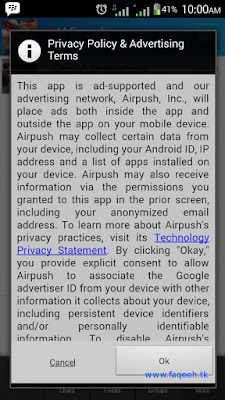 Cara menghilangkan mengatasi PopUp Privacy Policy & Advertising Terms dari Airpush