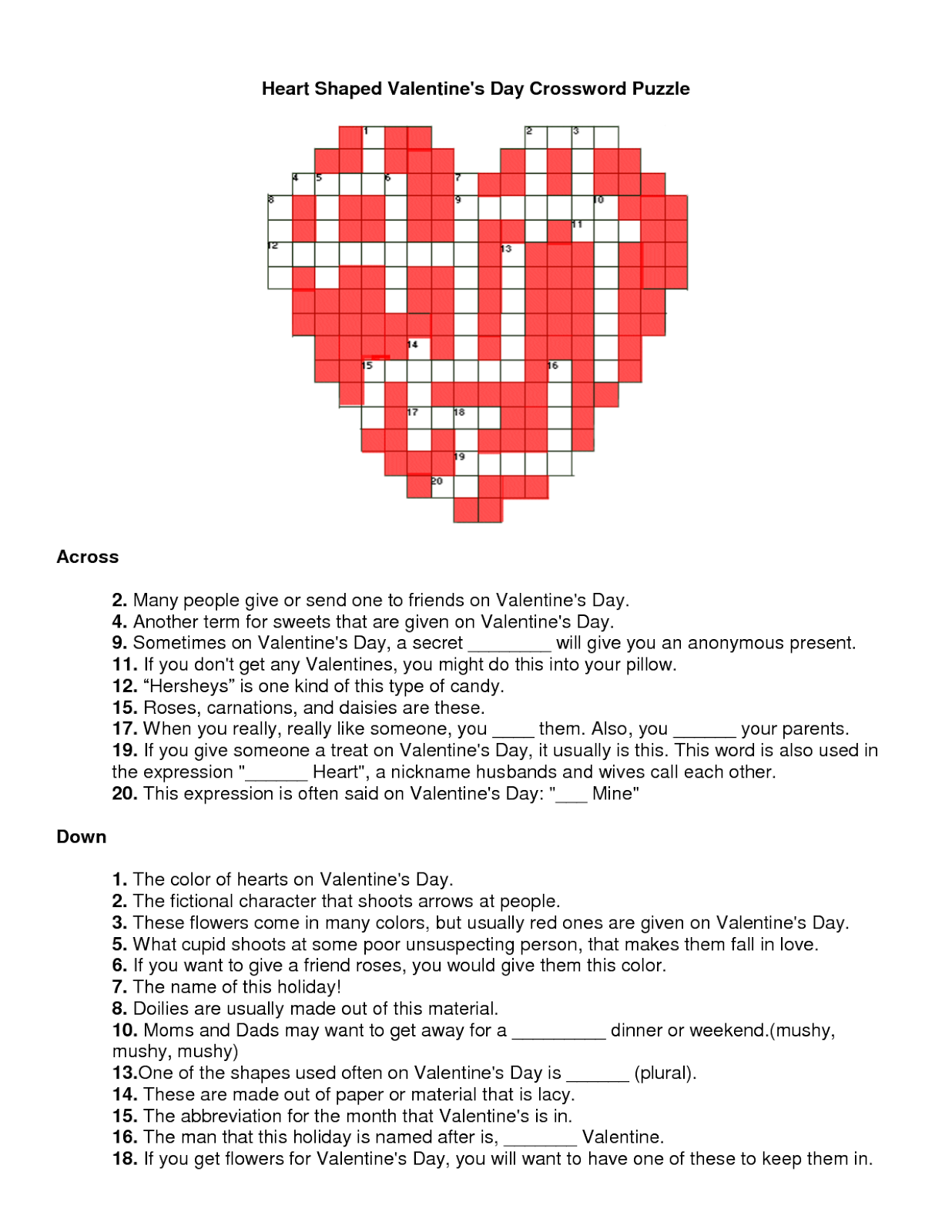 Valentines Crossword