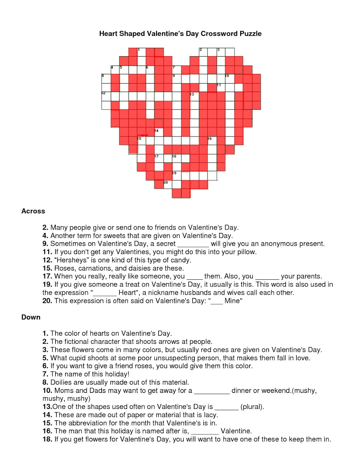 Valentines Crossword November