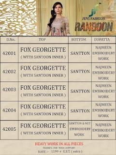 juvi fashion Rangoon Georgette pakistani Suits online