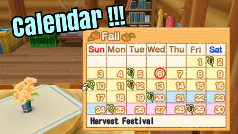Calendar of Event - Harvest Moon: Hero of Leaf Valley