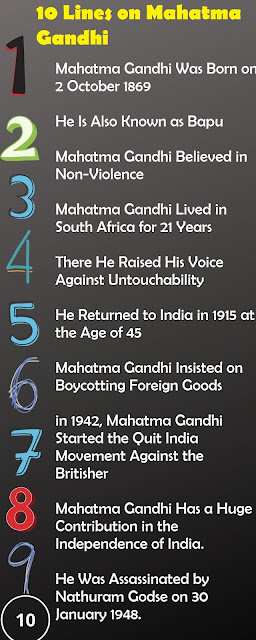 short 10 Lines essay on Mahatma Gandhi
