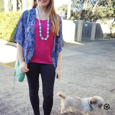 awayfromblue instagram blue printed kimono pink satin tank black skinny jeans SAHM Style