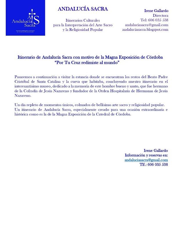 Itinerario de Andalucía Sacra, con motivo de la Magna Exposición de Córdoba 'Por tu Cruz redimiste al mundo'