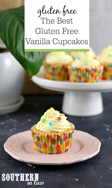 The Best Gluten Free Vanilla Cupcakes Recipe with Vanilla Buttercream - Moist and fluffy gluten free cupcakes recipe, butter free, foolproof cupcake recipe from scratch