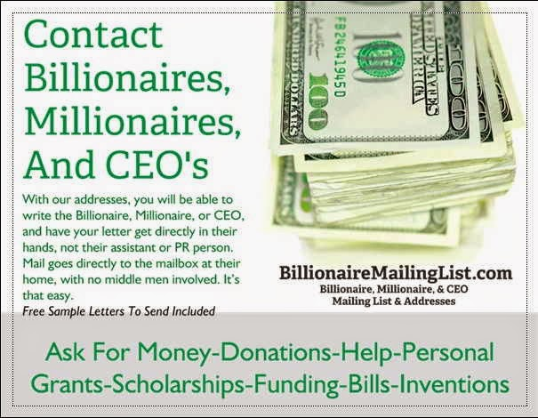 Contact or Sell A Product To The Wealthy - Billionaire Mailing List