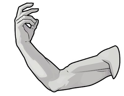 Finally, draw the contours to refine the structures of the arm.