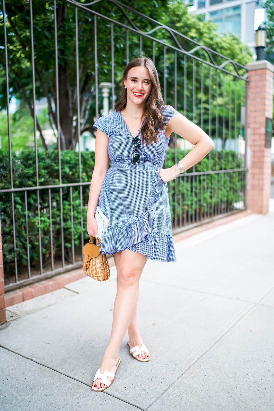 Gingham Wrap Dress  featured by popular New York fashion blogger, Covering the Bases