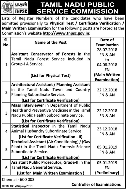 TNPSC Results February 14, 2019: Physical Test/ Certificate Verification Main Written Exam