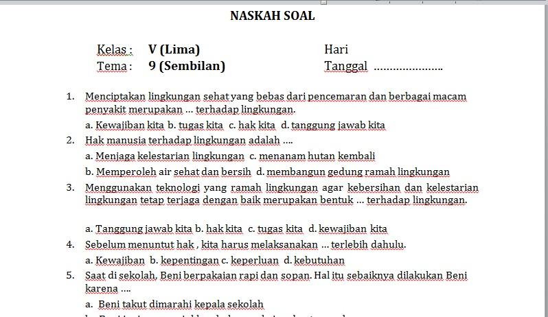 Latihan Soal Dan Jawaban Pat Tema 9 Kelas 5