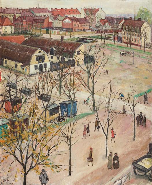Agda Holst - Utsikt over Ostra Boulevarden, Kristianstad - 1928