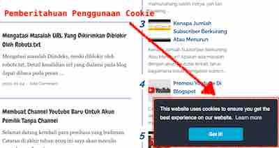 Cara Membuat Cookie Di Blog Tampil Sebagai Notifikasi