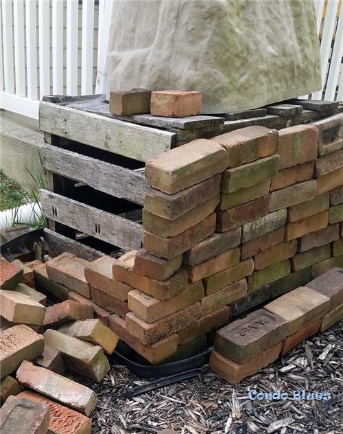 how to make a brick rain barrel stand