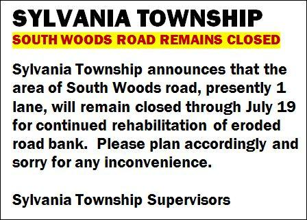 South Woods Road Closed Thru July 19th