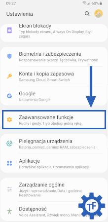 Ustawienia w telefonie Samsung