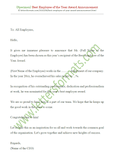 best employee of the year award letter
