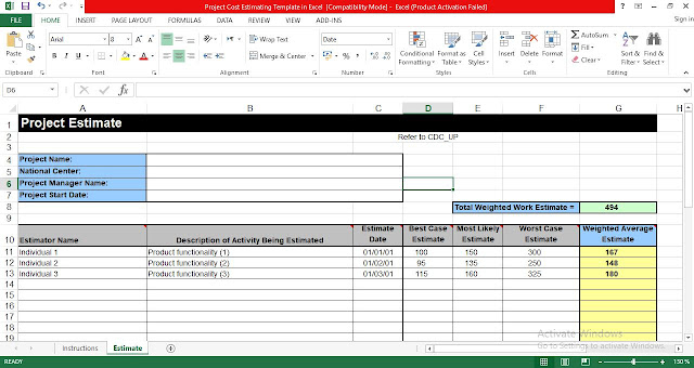 Project Cost Estimating Template in Excel