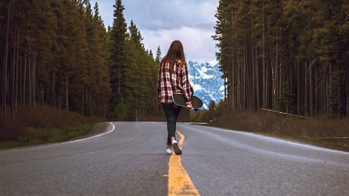 Skate, Garota, Estrada, Floresta, Natureza
