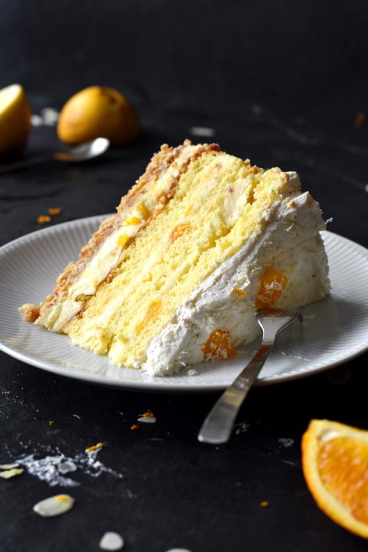 Rezept für eine sommerliche Orangentorte mit Zitronencreme