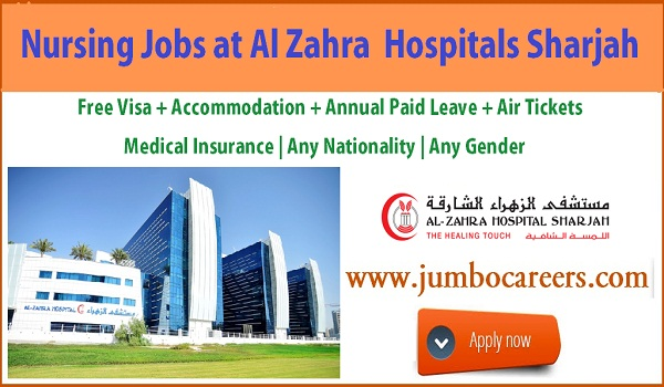Al Zahra hospital nurse salary Sharjah. 2018, UAE nurse jobs with accommodation,