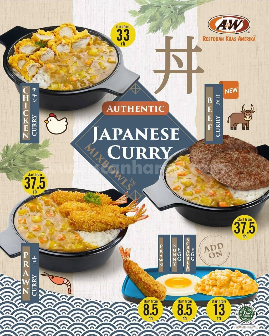 BARU! A&W JAPANESE CURRY MIXBOWL harga mulai Rp. 8.5 Ribu