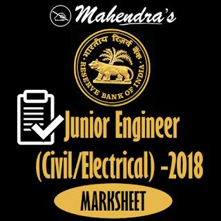 RBI   Junior Engineer (Civil/Electrical) - 2018   Marksheet