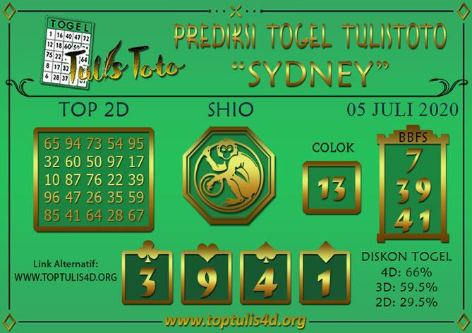 Prediksi Togel SYDNEY TULISTOTO 05 JULI 2020
