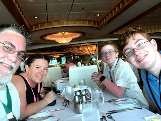 David Brodosi and family dining aboard cruise ship.
