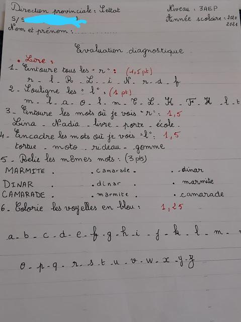 évaluation diagnostique 3AEP français