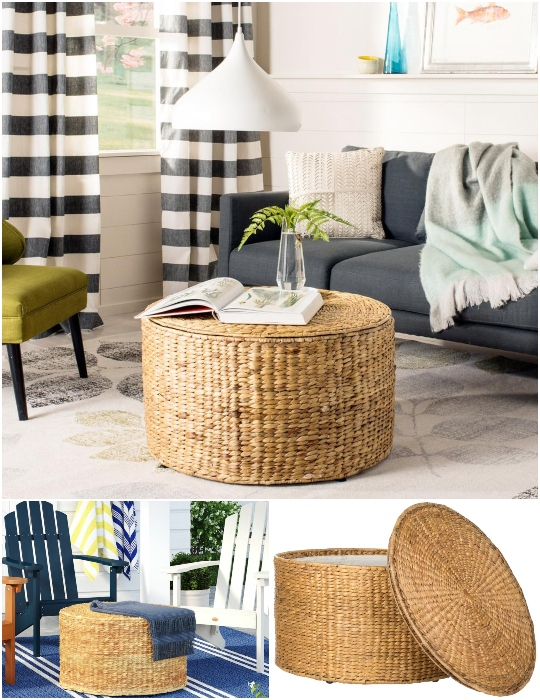 Round Wicker Storage Coffee Table Safavieh