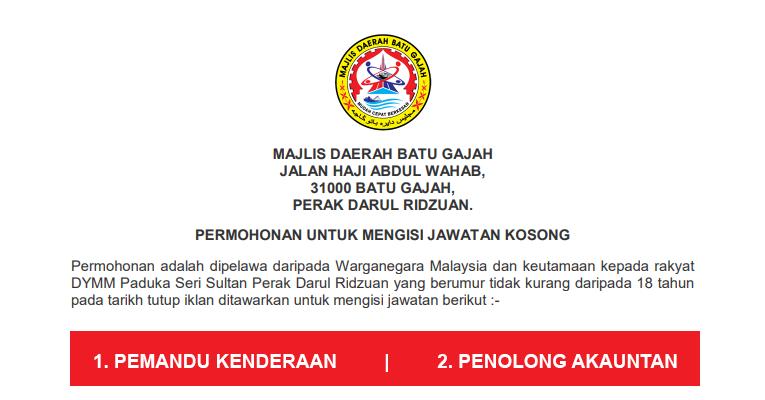 Jawatan Kosong di Majlis Daerah Batu Gajah