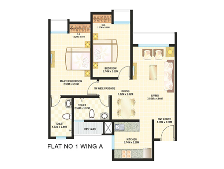 Dosti Desire Floor Plan 2 BHK
