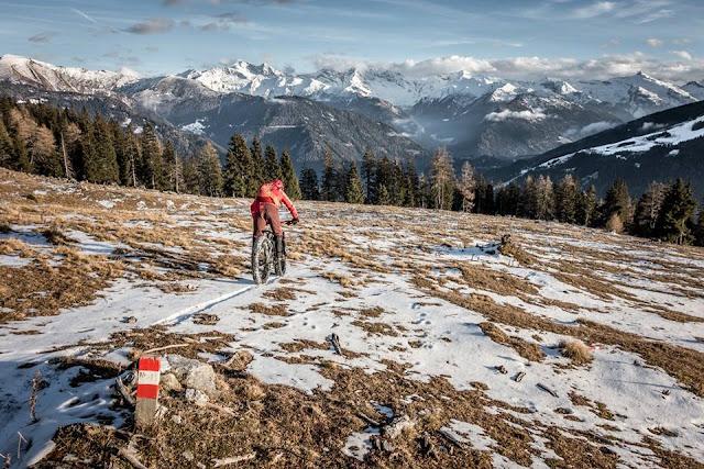 Abfahrt Winter Fatbike Steinach Blaser