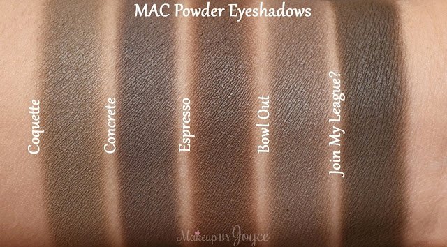 MAC Join My League Bowl Out Concrete Coquette Espresso Eyeshadow Swatches