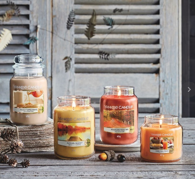 yankee candle fall 2021 collection, bougies automne yankee candle, yankee candle crépuscule d'automne, yankee candle sirop d'érable frais, yankee candle pêche savoureuse, yankee candle road trip en forêt, nouveaux parfums yankee candle, bougies yankee candle