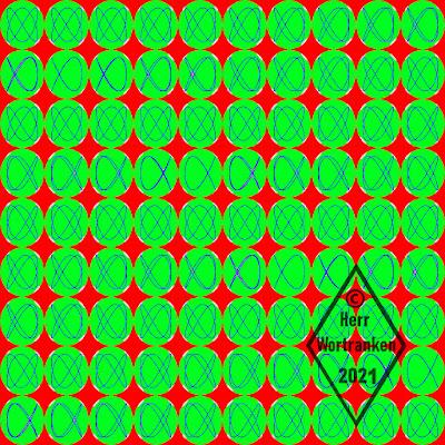 Bild besteht aus 10 mal 9, Kreisen. In den Kreisen, neunzig Stück, befindet sich je ein Frame (Filmbild) deren fortlaufende Veränderung als Endlosschleife, eine sich fortlaufend bewegte Lissajous Figur, zeigen würde. ...