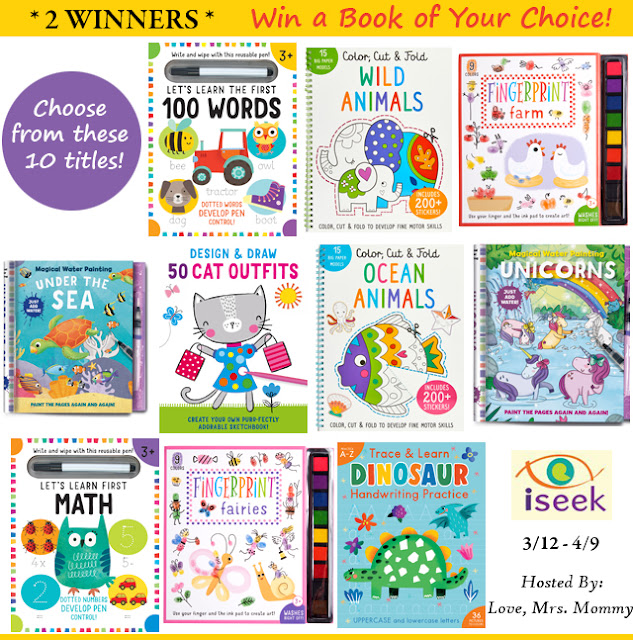 2 Winners! iSeek Learning Fun Activity Book Giveaway! First 100 words, fingerprint books, farm animals, unicorns, math books, dry erase books, ocean animals, ocean finds, learn math