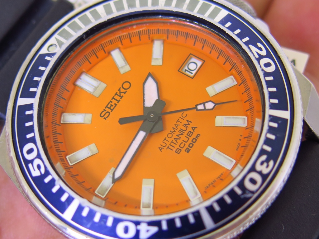 SEIKO SAMURAI TITANIUM ORANGE DIAL - SEIKO SBDA005 - AUTOMATIC 7S25 - FULLSET BOX PAPERS