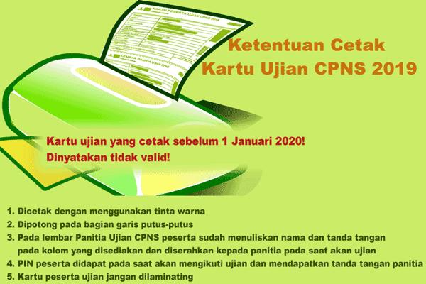 ketentuan cetak kartu ujian skd cpns 2019