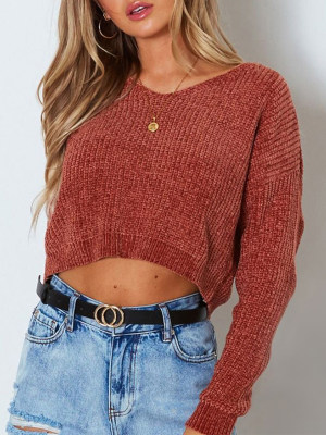 Loose Jersey Knit V-Neck Cropped Short Sweater