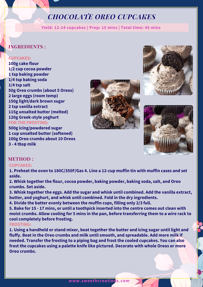 CHOCOLATE OREO CUPCAKES RECIPE