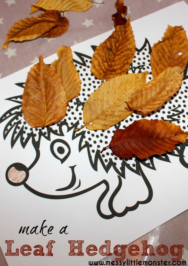 Leaf hedgehog craft with FREE HEDGEHOG PRINTABLE template. An easy Autumn/ Fall leaf craft idea for kids. Toddlers and preschoolers will love it!