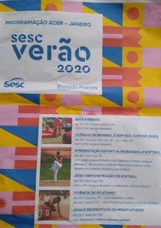 Programação do Sesc Verão 2020 na ACER em Registro-SP