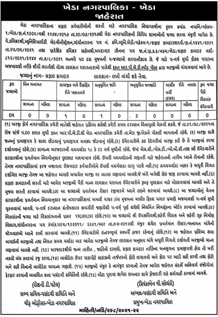 Kheda Nagarpalika Recruitment 2021 | Apply for Safai Kamdar Posts