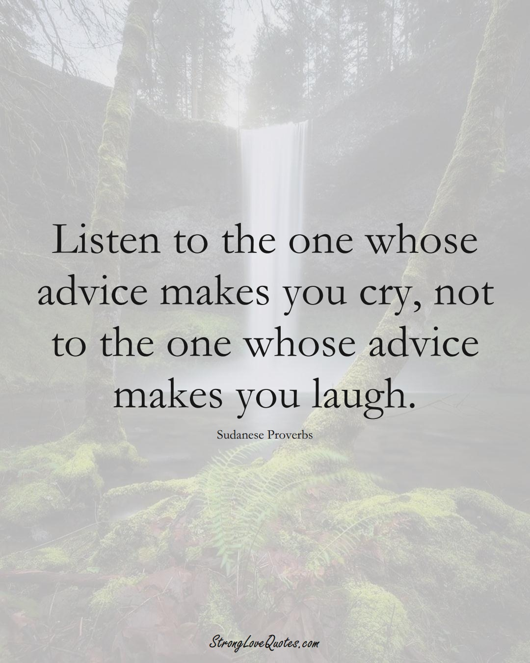 Listen to the one whose advice makes you cry, not to the one whose advice makes you laugh. (Sudanese Sayings);  #AfricanSayings