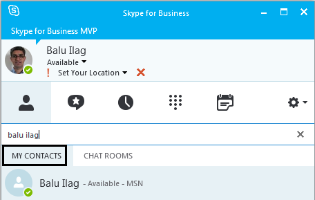 Search contact on skype