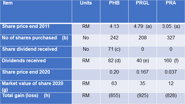 Parkson total shareholders return